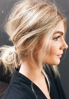 Messy low bun.