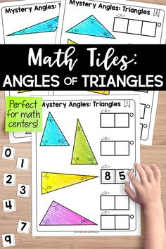 Angles of triangles math center! Students must place 10 number tiles (0-9) on the math tile cards to correctly determine the missing angle measurements in 4 triangles. This engaging resource activates critical thinking and problem-solving skills, all while developing algebraic thinking. Activity Centers, Math Centers, Hands On Activities, Math Activities, Triangle Math, Teaching Critical Thinking, Teaching Resources, Teaching Ideas, Problem Solving Skills