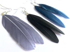 Feather Earrings for Women, Simple Boho Jewelry, Unique Gifts, Gray, Black, and Dark Blue, Real Feathers, Plain Dangle Feather Earrings, Women's Earrings, Crystal Necklace, Tassel Necklace, Jewelry Box, Unique Jewelry, Boho Look, Bohemian Jewelry, Craft