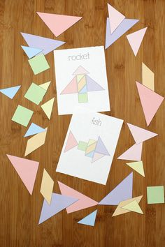 Tangrams are a fun puzzle activity that's perfect for STEAM classrooms, road trip busy bags, and educational playtime anywhere. Use the shapes to create a rocket, a fish, and other creations on the challenge cards. Creative Activities For Kids, Spring Activities, Art Activities, Printable Games For Kids, Rockets For Kids, Challenge Cards, Tangram, Shape Puzzles, Art Lessons For Kids