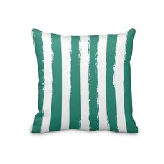 Dark Green Striped Tropical Pillow