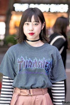 Thrasher T-Shirt & Striped Sleeves