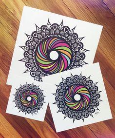 due to popular demand, prints of the rainbow swirl are available on my etsy… Mandala Design, Mandala Art, Colorful Drawings, Art Drawings, Zentangle Patterns, Zentangles, Art N Craft, Zen Art, Doodle Art
