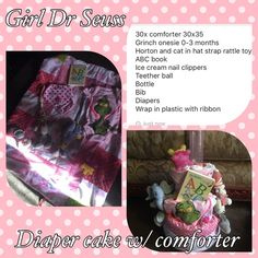 Dr Seuss girl diaper cake with comforter Wrap in plastic with ribbon Other