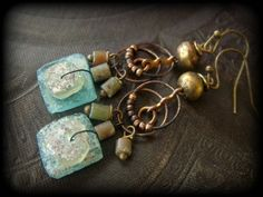 Ancient Roman Glass,, Vintage Brass Hoop Chain,Ethiopian Brass Beaded Earrings by YuccaBloom on Etsy