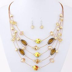 Multi-layer Necklace Set With Crystal