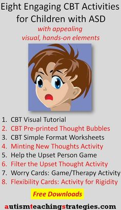 Cognitive behavioral interventions for children with ASD need to be visual, engaging and fine-tuned to the particular needs of kids on the spectrum.  Here are eight activities for mental health professionals, teachers and SLP's.  Tags: autism, asperger's, social skills games, cognitive behavioral therapy. This was pinned by http://pinterest.com/joelshaul/ Follow all our boards.