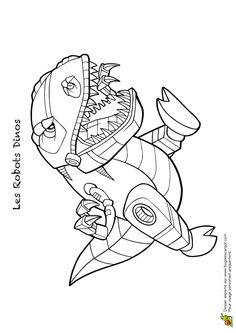 Un très féroce robot dinos prêt à attaquer, dessin à colorier