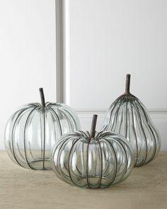 Neiman Marcus  Three Glass & Metal Pumpkins