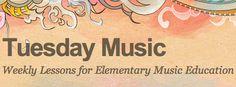 Elementary music teacher, Jane Rivera, shares weekly lesson plans. http://tuesdaymusic.wordpress.com/