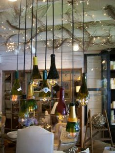wine bottle tops and light kits. Want something like this in my dining room!