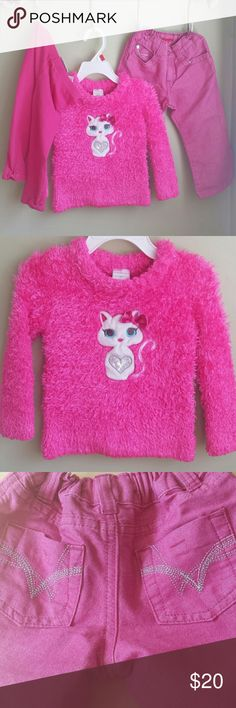 3 Pieces 2 Toddler. Pink Wonder kids adorable fuzzy kitty sweater. Wrangler jeans pink with silver sparkly flecks. Jumping Beans pink tights with bows on bottom hem. Gently worn, very good condition. Other