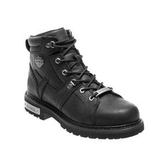 Men's Harley-Davidson Ruskin Motorcycle Boot ($160) ❤ liked on Polyvore featuring men's fashion, men's shoes, men's boots, black, casual, leather boots, mens black biker boots, mens leather motorcycle boots, mens boots and mens leather boots