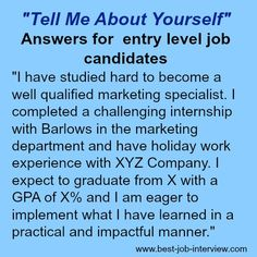 Tell me about yourself is a tough interview question. Use these expert guidelines and excellent sample interview answers to get it right. Job Interview Answers, Job Interview Preparation, Interview Skills, Job Interview Tips, Job Interviews, Job Resume, Resume Tips, Job Career, Career Advice
