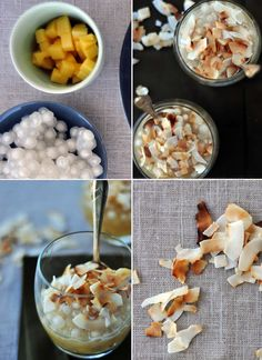 tapioca caramel and mango pudding