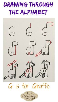 Drawing Through the Alphabet Letter G The Activity Mom Teaching Kids How to Draw G is for Giraffe Printable Activities For Kids, Kids Learning Activities, Writing Activities, Teaching Kids, Alphabet Activities, Alphabet Drawing, Drawing Letters, Alphabet Art, Art Drawings For Kids