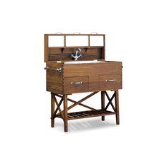 nautical, safari  campaign bathroom furniture | afrikaans campaign washbasin found on Polyvore