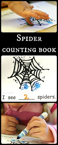 Halloween math and literacy with a spider counting book. Includes a free printable. Great for preschool, kindergarten, and homeschool.
