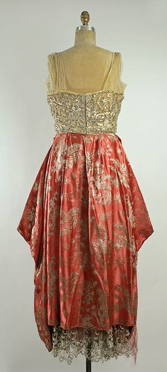 Dress, Evening.  Callot Soeurs  (French, active 1895–1937).  Date: 1915–16. Culture: French. Medium: silk, metallic. Dimensions: Waist: 30 1/2 in. (77.5 cm).