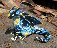 Starry Night Dragon, Handmade Polymer Clay Dragon by aikaterine1.deviantart.com on @deviantART