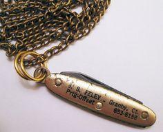 mini vintage pocket knife necklace