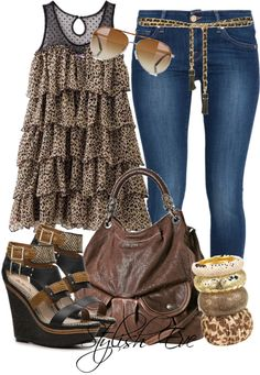 """Noha"" by stylisheve ❤ liked on Polyvore - Ruffled animal print top w/skinny jeans, yes plz. I think it would look good w/some matching animal print or black flats & without the belt."