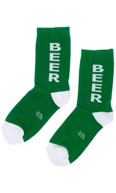 """Green isn't just for St. These fun Kelly green """"Beer"""" socks are the perfect pop of color any bar hopping outfit needs. Featuring a contrasting toe and heel, you can boldly celebrate your love of spirits any time of the year! Bar Hopping Outfit, Beer Socks, Sourpuss Clothing, Green Beer, Cool Socks, Kelly Green, Punk Rock, Color Pop, Vintage Inspired"""