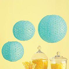 Blue Eyelet Paper Lanterns - Set of 3, for entrace way