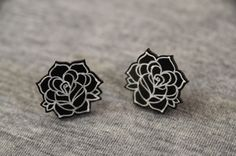Rose Tattoo Earrings. Black Rose. Monochrome. Traditional Rose. Old School Jewellery. Punk Earrings. Shrink Plastic. Punk. Art for Your Ears by MisfitMakes on Etsy https://www.etsy.com/listing/209710393/rose-tattoo-earrings-black-rose