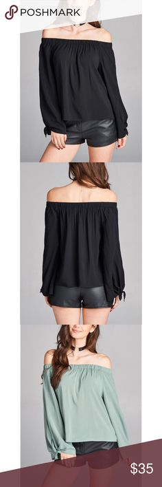 Black Off Shoulder Top Style overload soft sheer solid top in super chic off shoulder design. Tie detailed longsleeves. Nothing is prettier than this elastic off shoulder neckline. A total must have. Hannah Beury Tops