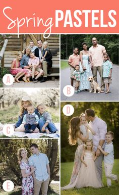 Outfit inspiration for families, couples, maternity and newborn photography sessions - great ideas for what to wear for photos! Spring Family Pictures, Fall Family Photo Outfits, Spring Photos, Family Pics, Spring Photography, Family Photography, Family Posing, Family Portraits, Family Picture Colors