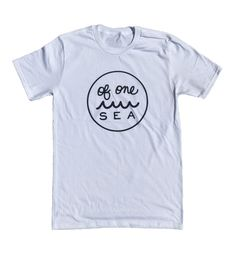 Our classic OF ONE SEA logo screen printed with navy eco-friendly ink. We made this gender neutral tee in the USA + with Organic Cotton - 100% Organic Cotton - Made in America - Men's fashion fit - Si
