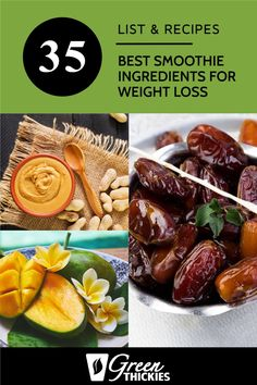 35 Best Smoothie Ingredients For Weight Loss (List & Recipes) Here are the best smoothie ingredients for weight loss. Some of these items can be bought in a store, but I also have recipes if you like to be ultra-healthy. Protein Fruit Smoothie, Raw Vegan Smoothie, Green Detox Smoothie, Fruit Smoothie Recipes, Smoothie Prep, Smoothie Ingredients, Make Ahead Smoothies, Good Smoothies, Breakfast Smoothies