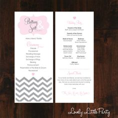 Simple Touch of Chevron Wedding Program DIY by lovelylittlepart