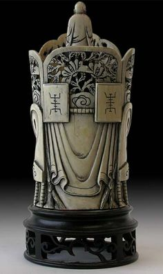 Antique Chinese Ivory Carving  Quan Yin Amida Buddha on Crown  China. early 1900s'. from the back