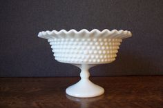 Vintage Milk Glass Hobnail Pedestal Bowl Compote with Ruffled Edge by SherwoodVintage on Etsy