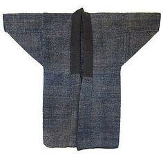 """sakiori hanten neck lined with black woven cotton, circa 1920. Size: 43 1/2"""" high x 49 1/2"""""""