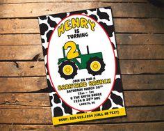 Child Birthday Invitation - Barnyard Brunch Tractor Cow Farm