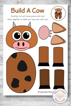 Make a cow with this fun farm craft. This preschool and kindergarten cut and paste craft is great for developing your child's cutting and sticking skills, and an awesome chance to practice some pencil control and fine motor skills as well! Grab the templates over at Nurtured Neurons! #cutandpaste #farmyard #cows #preschoolcrafts #kindergartenactivities #preschool #kidscrafts #farmtheme Kindergarten Activities, Preschool Crafts, Toddler Activities, Crafts For Kids, Parenting Toddlers, Parenting Hacks, Cow Craft, Farm Theme