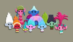 These are the Scrapbook version of the Trolls snack pack and some character expressions. It was a challenge to find how much detail we could loose to keep our characters recognizable. #trolls #dreamworks #felt