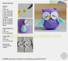 Amigurumi Sleepy Purple Owl model tells construction - crochet patterns Crochet Dinosaur, Crochet Bear, Cute Crochet, Crochet Animals, Crochet Dolls, Owl Crochet Patterns, Crochet Bunny Pattern, Crochet Motifs, Amigurumi Patterns