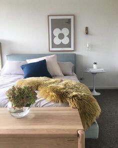 Loving your new bedroom @recipesfordesign featuring Eadie @informupholsterydesign bed and @rachelcastleandthings flower print framed by @formanpictureframing 💙 Eadie