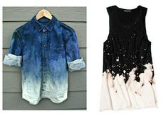 DIY Bleach-dipping: Dip a dress, denim jacket, or shirt in bleach and splatter it around a bit. This looks cool but I would be scared to do it Bleach Shirt Diy, Diy Shirt, Bleach Pen, Diy Fashion, Ideias Fashion, Fashion Ideas, Bleaching Clothes, Do It Yourself Fashion, How To Tie Dye