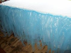 blue tulle tablecloth