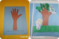 Lesson 23 Jesus Loves Zacchaeus:  Luke 19 - trace hand, add leaf collage, and finish with cut out Jesus and Zacchaeus figures, then Bible verse at bottom