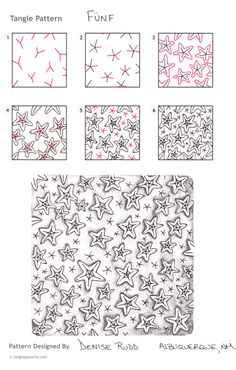 Steps for drawing CZT® Denise Rudd's Fünf tangle pattern