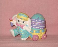 crayola bunny figurine   Vintage 1990 Hallmark Crayola Bunny Figurine with Easter Egg in Cart. This was my favorite Easter decoration for my children.