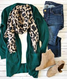 Shop the Look from styledmoms on ShopStyle Cardigans, scarves and booties oh my! We are so excited for the day when we can wear these layers without the worry of heat exhaustion! So in love with all the jewel tones this fall season! Cardigan Outfits, Casual Outfits, Green Cardigan Outfit, Outfit With Scarf, Green Shoes Outfit, Green Top Outfit, Fall Cardigan, Boot Outfits, Green Tee