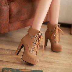 Women'S High Heels High-Top Shoes Lace Up Punks Ankle Boots Platform Pumps High Heel Boots, Heeled Boots, Shoe Boots, High Heels, Ankle Boots, Laced Boots, Black Heels, Cute Shoes Heels, Pretty Shoes
