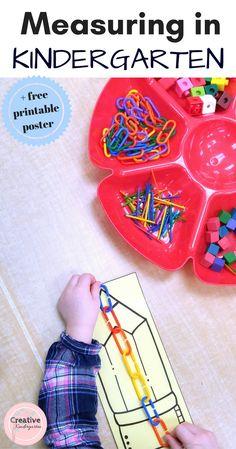Measuring in Kindergarten. Hands-on math centers for your kindergarten classroom. Ideas for non-standard measurement activities